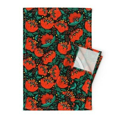 Red Bright Poppies Ethnic Floral Linen Cotton Tea Towels by Roostery Set of 2