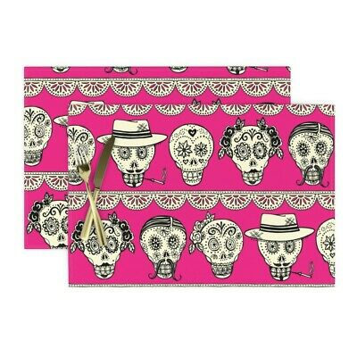 """Placemats Day of Dead Skulls Frieda Wine Mariachis 6 Designs 13/"""" x 19/"""" Cotton"""
