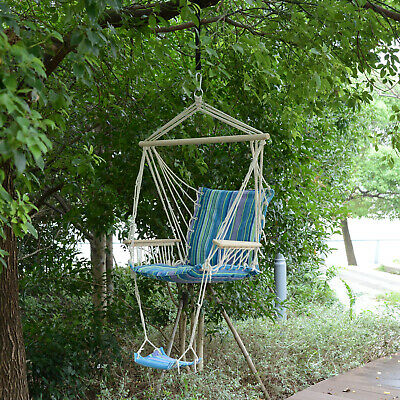 Outsunny Outdoor Hanging Rope Armrest Chair Garden Swing Seat Cushion Footrest