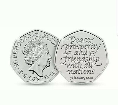 New BREXIT 50p Pence january 2020  Peace, Prosperity & Friendship all Nations