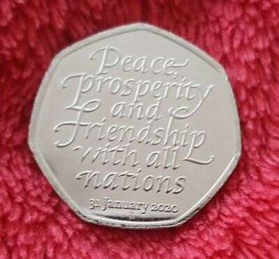 BREXIT 50p Pence january 2020  Peace, Prosperity & Friendship all Nations