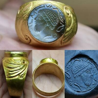Ancient Agate King Seal Face writing stone 22k karat Gold Ring # 125