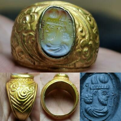 Ancient Agate stone 22k karat king intaglio seal stone Ring # 125
