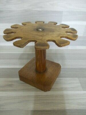 Antique French round wooden stamp holder desk top rack stand for 12 stamps