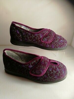 Ladies Cosyfeet Slippers Size 6 extra roomy Diane Plum Floral New