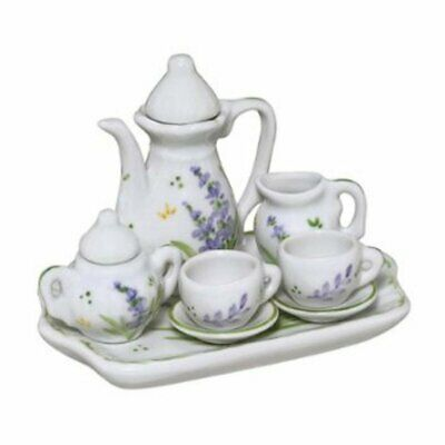 Lavender Porcelain Doll Size Miniature Tea Set, Small with Teapot just 2.7 Inche