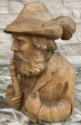 Large Antique German Black forest Carving bust man smoking pipe Sculpture statue