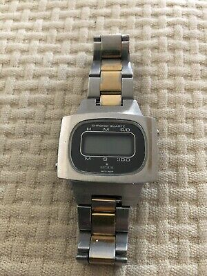 Vintage 70's EXTREMELY RARE SYDUS WATCH LCD STEEL AND GOLD PLATED Swiss Orologio