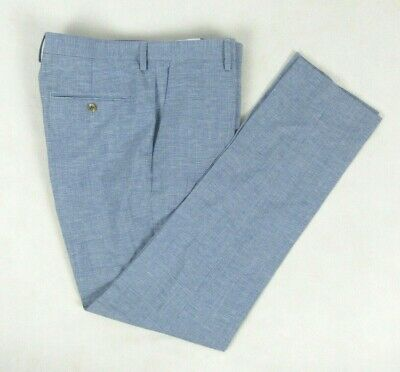 J. CREW Ludlow Slim Fit Linen & Wool Houndstooth Blue Pants Flat Front 33 x 34