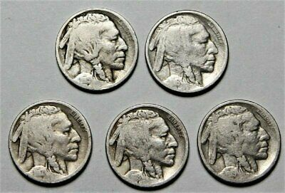 1915, 1916, 1917, 1918 & 1919-P Buffalo Nickels  >> US 5c Coin <<  Lot M