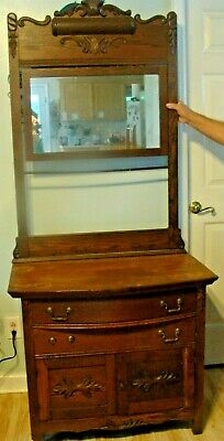 Oak Dresser/Wash Table? with Moveable Mirror Attachment, Ornate, Antique