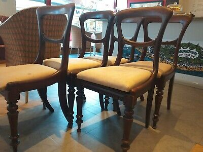 SET ENGLISH 5 mahogany VICTORIAN carved shaped antique chairs WITH DROP IN SEATS