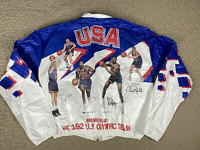 1992 USA Dream Team Basketball Kelloggs Windbreaker Jacket All Over Print Sz L