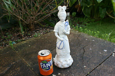 20th Century Chinese Porcelain White with Blue Women Lady Figure Statue on Lotus