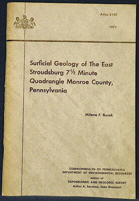 EAST STROUDSBURG GEOLOGY Pennsylvania ATLAS With COLOR MAP 1971 NICE Marcellus
