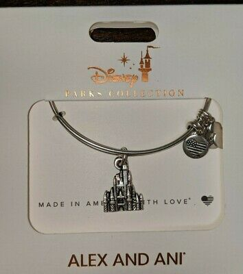 Disney Parks Alex and Ani Cinderella Castle Charm Bracelet Silver New