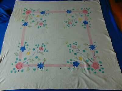 VTG 100% Cotton Floral CUTTER Print Tablecloth