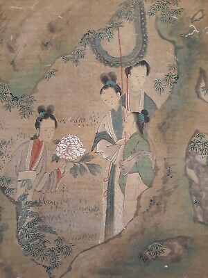 Antique CHINESE Painting On Silk Signed By Scholar CHEN ZHUO