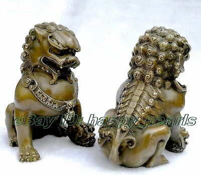Chinese Brass Copper Animal Feng shui Foo Dog Lion town house Statue pair 14.5cm