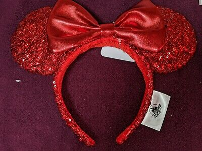 Disney Parks Minnie Mouse Ears REDD Pirate Red Sequined Headband with Bow NWT