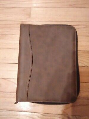 Day-Timer Simulated Distressed Leather Zip Binder Black 1 Inch Rings EUC.