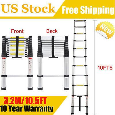 10.5ft Stretchable Telescopic Ladder Collapsible For Loft Storage Roof Attic 3.2