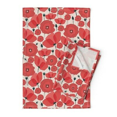 Poppies Red Flowers Remembrance Day Linen Cotton Tea Towels by Roostery Set of 2