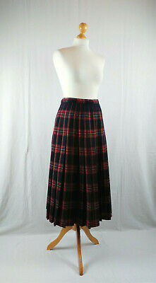 Vintage Planet 1970s Navy & Red Check Pleated Midi Skirt