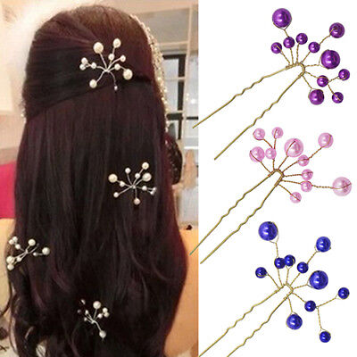 GC- HD_ FT- Simple Wedding Bridal Bridesmaid Faux Pearls Hair Pins Clips Comb He