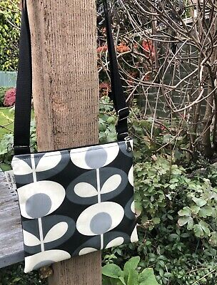 Orla Kiely Messenger Bag, Crossbody Bag,Orla Kiely Grey Oval Flower Oilcloth