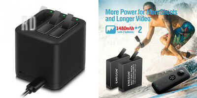 ENEGON Battery (2-Pack) & 2 Insta360 ONE X Batteries & Triple USB Charger