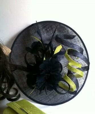 Navy Fascinator with Lime Sinamay saucer disc Wedding.races.ascot.new..