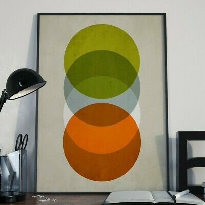 Abstract Circles Mid Century Pop Art Deco A3 Retro Print Limited Edition Of 100