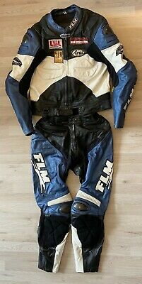 Lederkombi FLM Race Suit Carbon Gr. 58 XL XXL Blau Schwarz Weiß Leather Suit
