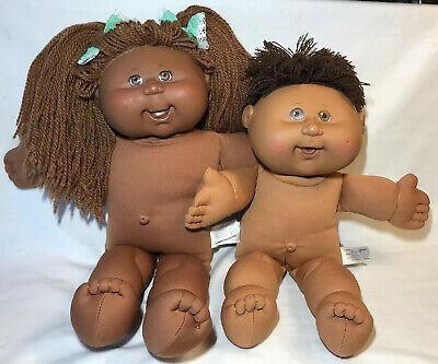 2 Cabbage Patch Kids African American Black Doll Dolls Xavier Signed Girl Boy
