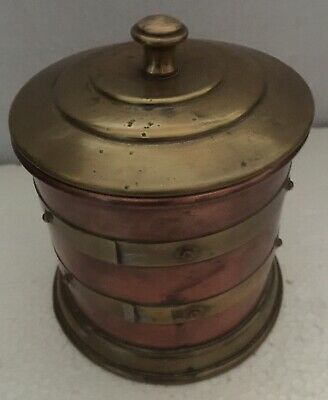 Antique Arts and Crafts cylindrical copper and brass tobacco jar