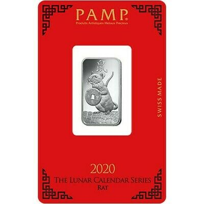 2020 ~ 10 GRAM ~ .999 SILVER ~ YEAR of the RAT ~ PAMP SUISSE ~ ON ASSAY ~ $30.88