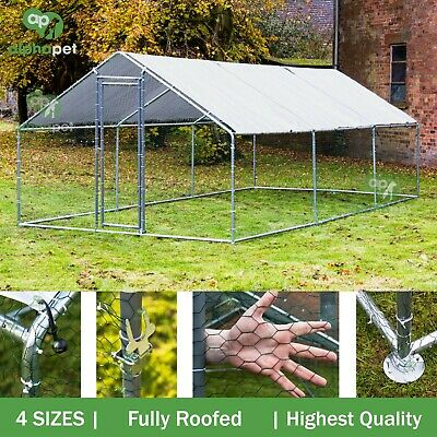 Fully Roofed Chicken Run Coop Cage for Pets Hens Rabbit Dogs Chickens Poultry