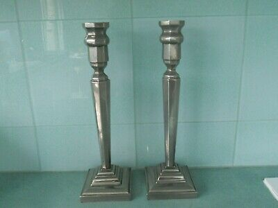 Pair Of Very Heavy Antique / Vintage Art Deco Silver Plated Candle Sticks - 4Kg+