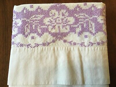 """2 Vintage Cotton Hand Embroidered Pillowcases Pair 20 1/2"""" X 29"""" Purple Flowers"""