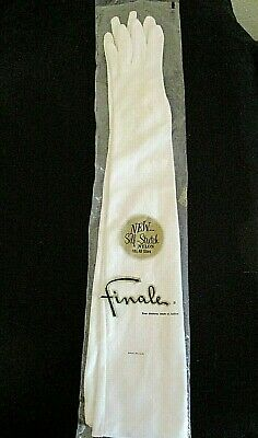 """Vintage FINALE Opera 22"""" GLOVES w/3 buttons*ORIG PRICE TAG*USED ONCE*STRETCH*"""