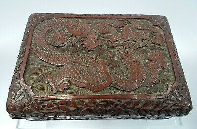 Antique Chinese Hand Carved Cinnabar Box w/ Dragon