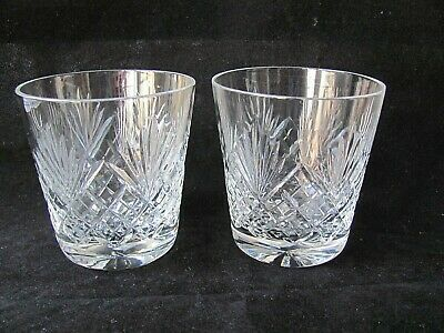 """PAIR Royal Doulton Crystal JUNO Cut 3½"""" Old Fashioned Whiskey Glasses / Tumblers"""