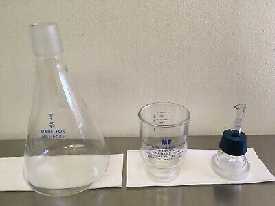 Lot of 3 Millipore Laboratory Glass Filtration Pieces, Filter Holder, Flask Etc.