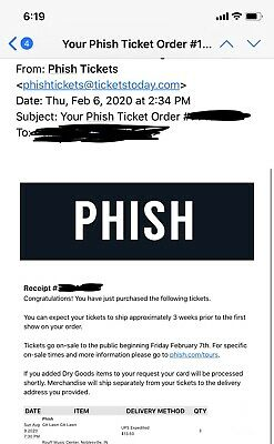 3 Phish Tickets For 8/9/2020 Ruoff Home Mortgage Music Center Noblesville, IN