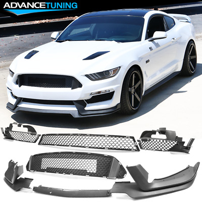 PP Flat Black Fits For 15-17 Ford Mustang GT500 Style Front Bumper Lip Spoiler