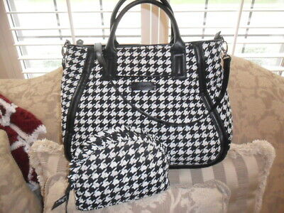 Vera Bradley X-Lg Faux-Leather Houndstooth Tweed Travel Tote + Cosmetic Case