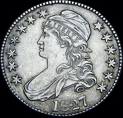1827 Capped Bust Half Dollar Silver US  ---- Nice Type Coin ----  #V387
