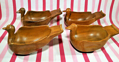 Fabulous 4pc Vintage Monkey Pod Hand Carved Wooden Geese Serving Bowls