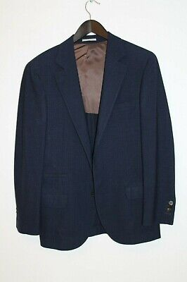 Brunello Cucinelli Navy Check Blazer 46 EU 36 US STAPLE Wool Mohair Silk